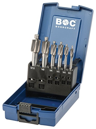 Bohrcraft 17081330006 Flachsenker HSS Gütegrad Kernloch in ABS-Box 6-TLG. M3 / M4 / M5 / M6 / M8 / M10 / FS6-KERNL-K
