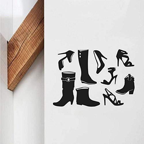 Mode High Heels schoen pose kunst muursticker zwart vinyl afneembare wooncultuur schoenenkast sticker woonkamer wallpaper 58 * 42 cm