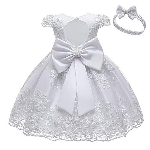 Robe d'anniversaire pour Bébé Fille Robe de Baptême Tulle Tutu en Fleur Dentelle Broderie...