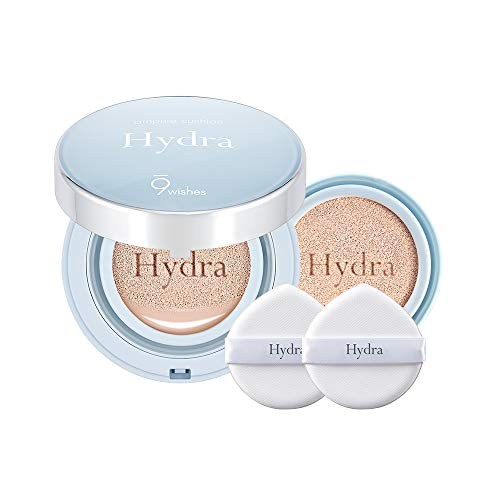 [9wishes] Hydra Ampule Cushion & Refill & 2 puffs SPF50+ PA+++, Titanium Dioxide Moist Feeling Cushion (#21 Light)