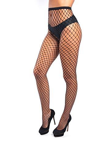 Sk by looksy Netzstrumpfhose für Damen, schwarz, Netzstrumpfhose mit Rautenmuster, sexy Look Gr. One size, Schwarzes Fischnetz, 1 Stück