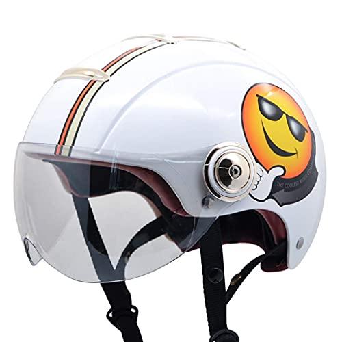 MRDAER Casco de Motocicleta Vintage - Casco de Cara Abierta Estilo Retro para ciclomotor de Motocicleta con Visera para el Sol Certificado Dot M-XL (55-61cm)
