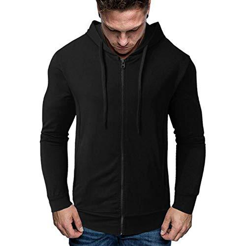 MMADD Suéter de otoño e invierno de sección delgada, chaqueta con capucha de los hombres de la cremallera, ropa exterior de los deportes de terry negro, S