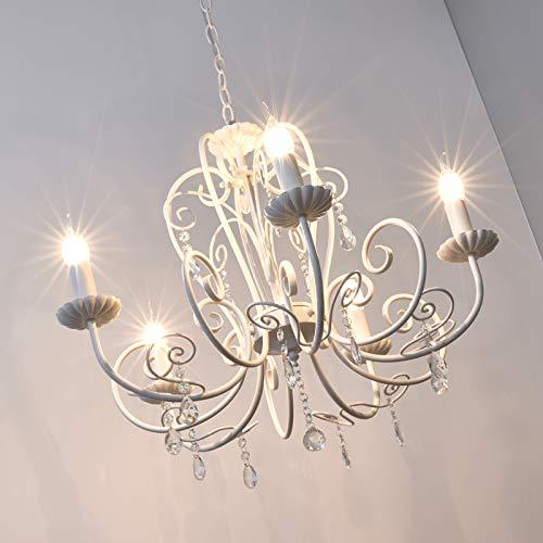 Lampadario 'Sophina' (Antico) colore Bianco, in Metallo ad es. Soggiorno & Sala da pranzo (5 luci, E14, A++) di Lindby | lampada a sospensione, sistema a sospensione, lampadario, lampada, plafoniera