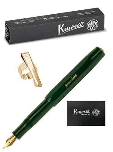 Kaweco - Juego de Bolígrafos Verdes Sport Classic - Punta fina (F) - Clip Octogonal Dorado y Manual del Usuario