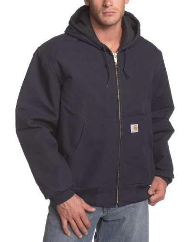 Carhartt Men's Quilted Flannel Lined Duck Active Jacket J140,Dark Navy,Large
