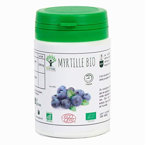 Myrtille - Bioptimal - Complément alimentaire - Myrtille bio - Clarté visuelle - Vision - Yeux - Fabriqué en France - Certifié par Ecocert (60 Gélules)