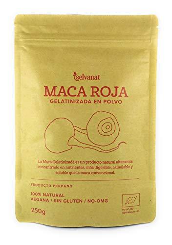 Maca Roja Gelatinizada en polvo, 250 g. Sin gluten No-OMG Orgánica y Vegana. Energía, Fertilidad y Salud Sexual para Mujeres y Hombres. Estimula las defensas. Producto peruano