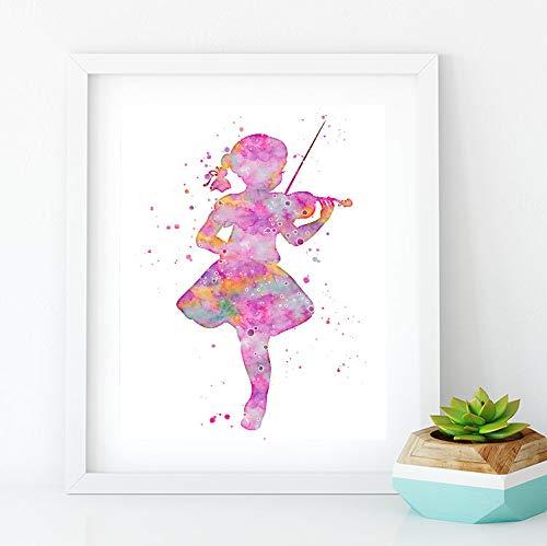 Little Girl spelen viool aquarel afdrukken kinderen kamer muur kunst meisjes kinderkamer Decor