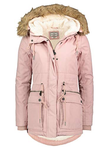 Eight2Nine Damen Kurz-Mantel Parka mit Teddy Innen-Futter Light-Rose L