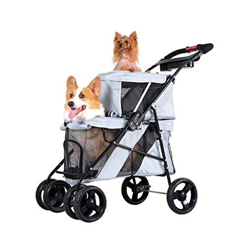 PLDDY Doppellagig, Hundekarren, Katzenwagen, Haustierwagen, Falten, Kinderauto, Haustierwagen (Farbe : Grau)