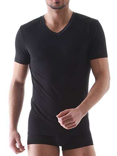 David Archy Men's 3 Pack Micro Modal Underwear Soft Comfy V-Neck Undershirts (L, Black)