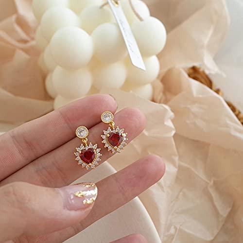 SONGK Pendientes de corazón Rojo romántico de Temperamento de Moda Pendientes de joyería de Mujer Coreana Sexy Elegante