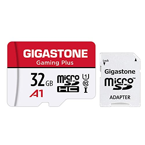 [Gigastone] Micro SD Card 32GB, Gaming Plus, MicroSDHC Memory Card for Nintendo-Switch, Smartpone, Roku, Full HD Video Recording, UHS-I U1 A1 Class 10, up to 90MB/s, with MicroSD to SD Adapter