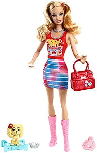 Mattel Barbie X2280 - Fashionistas Summer, Puppe mit Hündchen und Ring