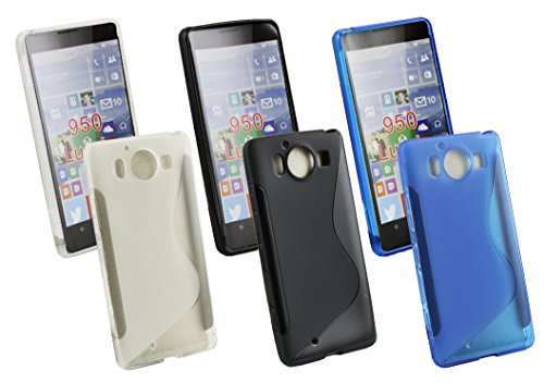 emartbuy Gel-Schutzhülle für Microsoft Lumia 950/950 Dual SIM, ultradünn, Blau/Transparent/Schwarz, 3 Stück