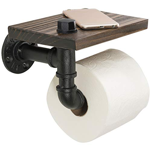 Excello Global Products Industrial Toilet Paper Holder with Rustic Wooden Shelf and Cast Iron Pipe Hardware for Bathroom, Washroom