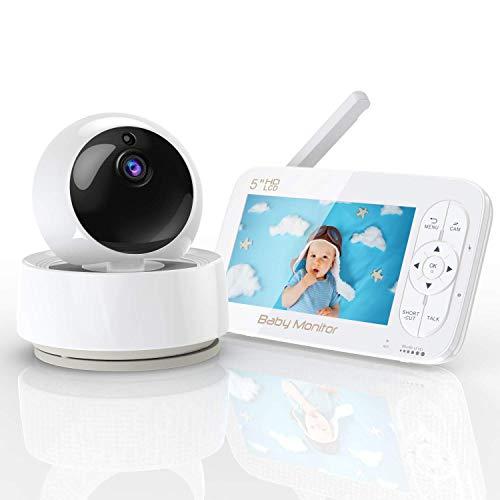 YUNDOO Babyphone mit Kamera, 5 Zoll HD Baby Monitor, 720P LCD Display 360° Rotieren,300M Reichweite, Nachtsicht, 2 x Zoom, Füttern Timer, Energiesparmodus,Temperatur & akustischer Alarm, Sprachanrufe