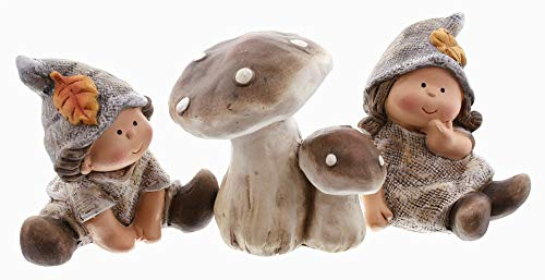 Frank Flechtwaren - Set di 3 gnomi, amici dei funghi