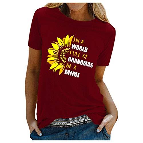 Floweworld🍒Grafische T-Shirts für Frauen lustige lässige Cartoon-Muster Kurzarmhemd Top O-Ausschnitt Igel Slim Soft Tunic Tops T-Shirt, Damen Bequeme und atmungsaktive Plus-Size-T-Shirts
