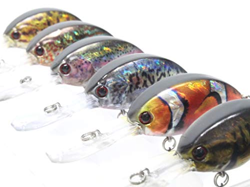wLure Fishing Lure 6 Lifelike Colors Deep Diving Crankbait for Bass Fishing Bass Lure with Tackle Box HC733KB
