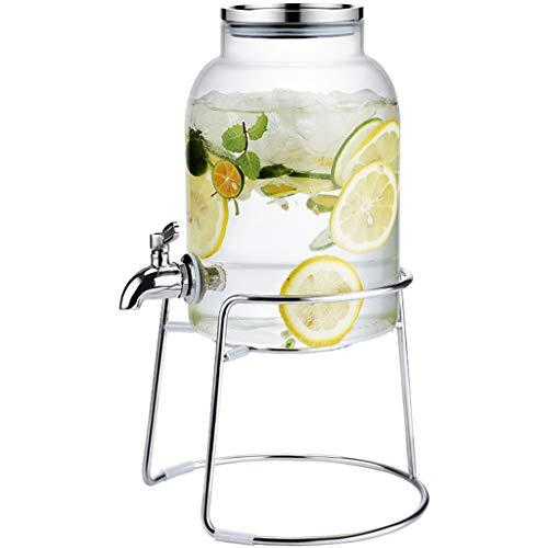 Bucket Yxx@ Dispensador de Bebidas con Grifo de Acero Inoxidable Recipiente de Agua de Vidrio de 3 L para Bebida Caliente o fría