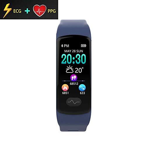 QYJY Heart Rate Monitors Inteligente Pulsera Smart Watch, ECG PPG Monitor de Pulso Cardiaco Reloj Inteligente, Pantalla a Color IP67 a Prueba de Agua E07 (Color : Blue)