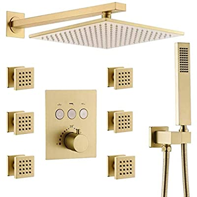 "Enga Luxury Brushed Gold Wall Mounted 10"" Square Thermostatic Rainfall Shower System with Body Jets & Handheld Bathroom Spa Shower Fixture Combo Set, Allows Multiple Heads to Function At a Time"