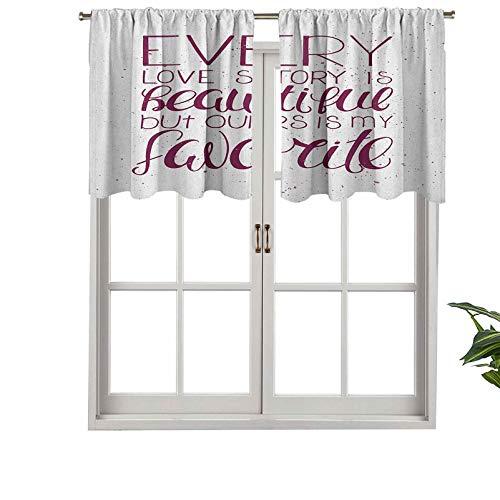 """Hiiiman Cortinas cortas opacas con bolsillo para barra, diseño con texto en inglés """"Our Story is My Favorite Love Adoration"""", juego de 2, cenefas pequeñas de media ventana de 137 x 91 cm para cocina"""
