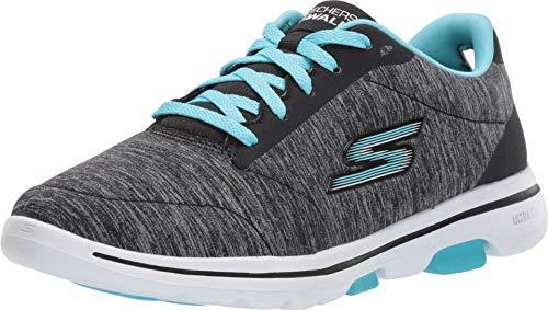 Skechers Women's GO Walk 5 - True Shoe, Black/Aqua, 8 M US