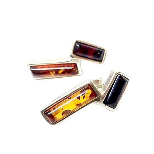 Creazioni Oro Pendientes en Plata 925 con Ámbar Rectangular Multicolor E1195