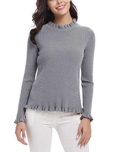 Abollria Suéter Elegante para Mujer Jerséy Clásico para Otoño Invierno Cuello de Volantes