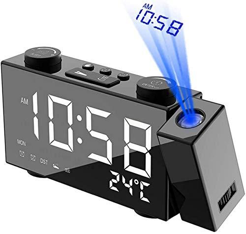 Wecker, LED-Digitalprojektionswecker mit USB-Ladeanschluss, drahtloses Wetter mit Funksteuerung, 12 / 24H, Innentemperatur ℃, Netzstromversorgung, Datums-Doppelalarm-Schlummerfunktion