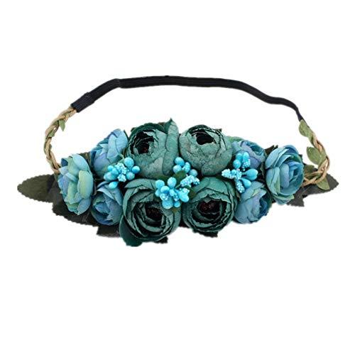 YAZILIND Rosa Bud flor wreath boda novia guirnalda novia tocado estiramiento diadema...
