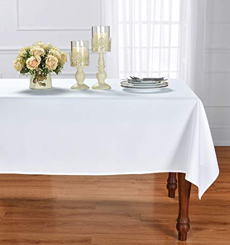 HOMCHIC Faux Linen Square Table Cloth - Washable, Spillproof, Easy Care, Wrinkle Resistant, Thick Indoor and Outdoor Tablecloth, Premium Polyester Fabric-60x60 Inches - Square - White