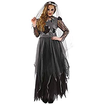 Womens Corpse Bride Costume Adults Black Zombie Wedding Dress Outfit - XX-Large