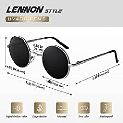 CGID E01 Retro Vintage Style Lennon Inspired Round Metal Circle Polarized Sunglasses for Women and Men #3