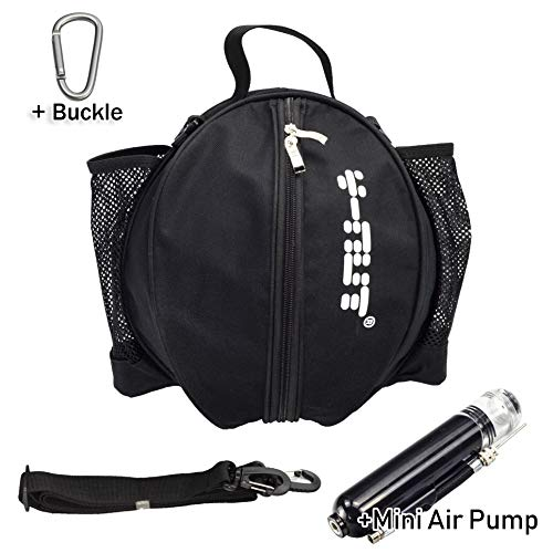Y-Nut Basketball Bag with Pocket Size Manual Air Pump, Basketball Shoulder Bag for Outdoor Sport, Great for Carrying Basketball, Soccer Ball, Volleyball, Black
