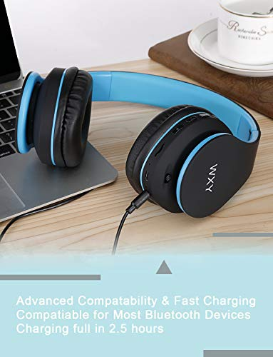 Over Ear Bluetooth Headphones, WXY Wireless Headset V5.0 with Built-in Mic, Micro TF, FM Radio, Soft Earmuffs & Lightweight for iPhone/Samsung/PC/TV/Travel(Black-Blue) 4