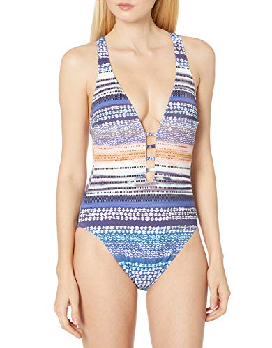 Kenneth Cole New York Women's Keyhole Front Cross Back Mio One Piece Swimsuit, Multi//Closer Together, M