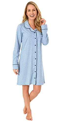 NORMANN WÄSCHEFABRIK Damen Nachthemd, klassisch mit Reverskragen & Knopfleiste - auch zum stillen geeignet, Farbe:hellblau, Größe2:44/46