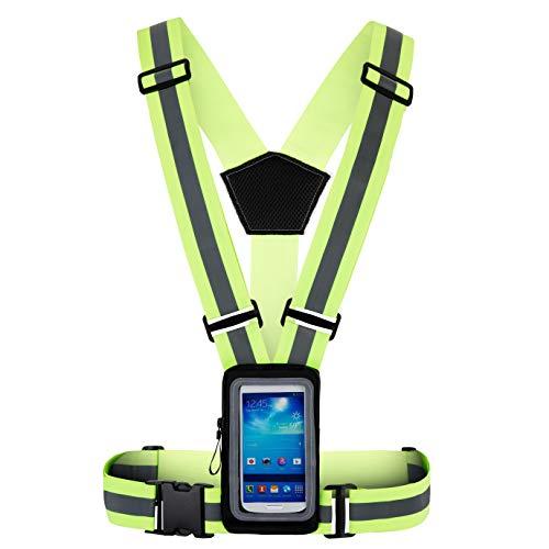 CREGATO Warnweste zum Joggen mit Handytasche zum Umhängen kompatibel für iPhone, Samsung Smartphone