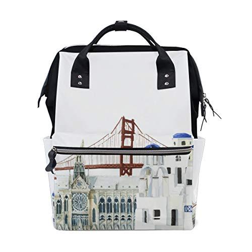 Bolsa para pañales de gran capacidad, mochila para cuidado del bebé, diseño de marca de la fama mundial, multifunción, impermeable, mochila de viaje elegante para mamá y papá