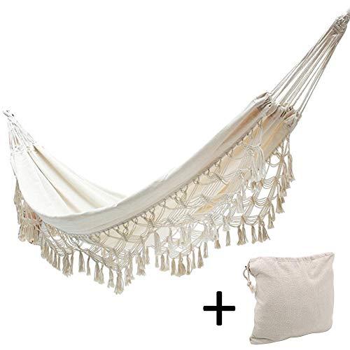 Luckything Hangmat, boheemse hangmat, met franjes, ademend, voor outdoor, tuin, terras, binnenplaats