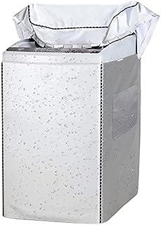 「4面包みデザイン」洗濯機カバー シルバー 両側収納袋付き 洗濯機 カバーマジックテープ 防水 防塵 防UV 室外機カバー バックルつき ファスナー 台風 屋外 室内 ドライヤ、洗濯機対応可能 M