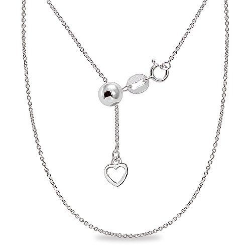 Sterling Silver Adjustable Light Thin Rolo Bolo Chain Necklace Up to 20