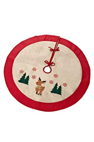 HEITMANN DECO runde Baumdecke mit Rentier - Weihnachtsbaumdecke Christbaumdecke Schutz vor Tannennadeln - Weihnachten - Rot, Natur