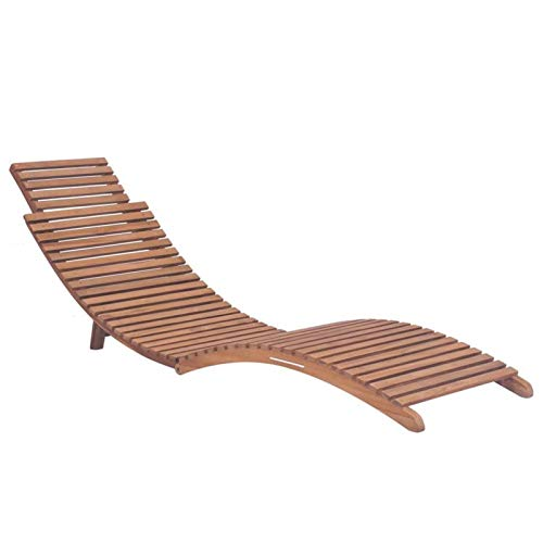 QWSX Outdoor tables and chairs Outdoor slatted design Deck Chair of Teak Hardwood with Adjustable Backrest Sun Loungers Garden Chairs for Balcony Campsite Leisure and entertainment (Color : BROWN)