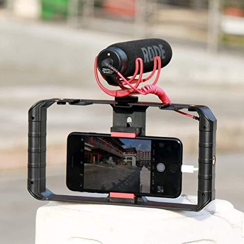 Ulanzi Smartphone Video Rig, Filmmaken Opname Vlogging Rig Case, Handheld Grip Stabilizer met Koude Schoen Mount voor iPhone 7 Plus Sumsang en anderen Met in 7-inch scherm, LED Licht, Microfoon