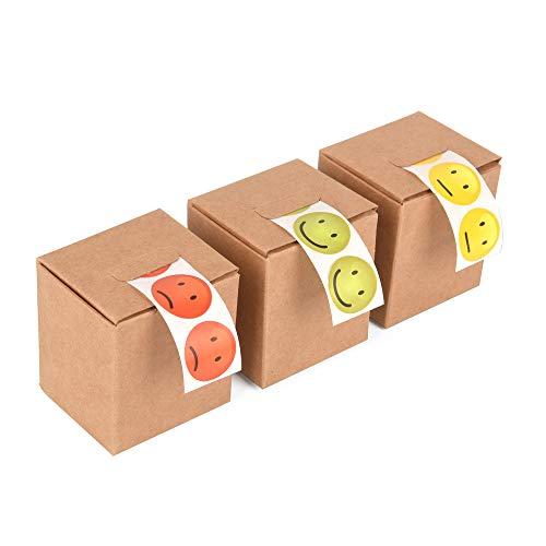 ewtshop® 3 x 100 Smile Lachgesichter Aufkleber Sticker in den Ampelfarben, rot, grün, gelb, 2 cm Durchmesser